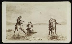 view Frogs conducting a duel: one frog has killed another with his sword, watched by their seconds. Photograph by J.P. Soule, 1876, after a drawing.