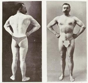 view 2 photographs of bodybuilder and professor Desbonnet