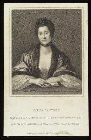 view Portrait of Anna Seward, writer and literary critic, 1762