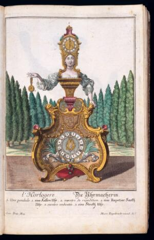 view l'Horloger, the female Clock and watch maker with clock costume and apparatus