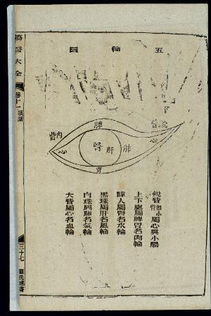 view Chinese woodcut: Eye diagnosis -- the five spheres (wu lun)