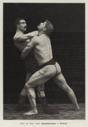 view Two men wrestling, France, c. 1906