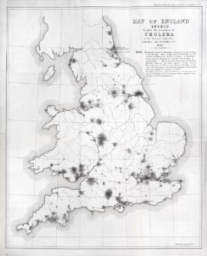 view Map of England showing prevalence of cholera, 1849