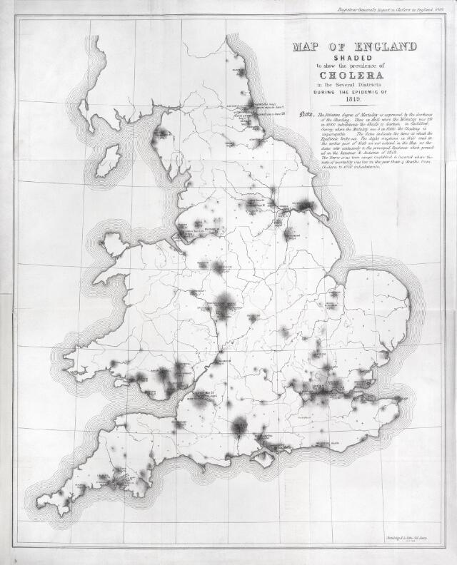 Map of England showing prevalence of cholera, 1849