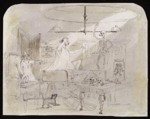 view The dissecting room of an anatomist, with a man thought to be dead waking up and sitting up in his coffin. Drawing, 183- (?).