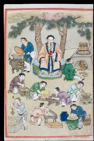 view Drug preparation, C16 Chinese painted book illustration