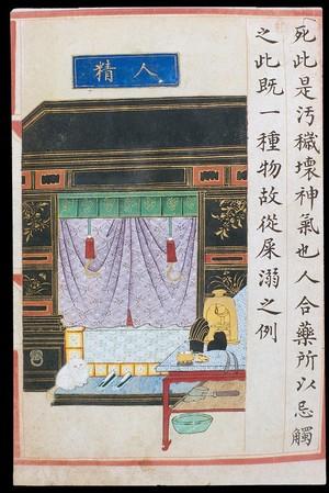 view 'Human essence/semen', C16 Chinese painted book illustration