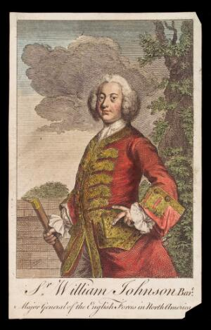 view Sir William Johnson. Coloured engraving, 17--.