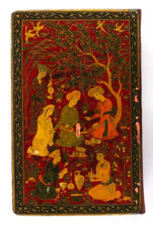 view Physician talking to a female patient in a garden with servants preparing medicaments and potions. Persian lacquered binding board cover of the Canon transcribed in Isfahan 1632.