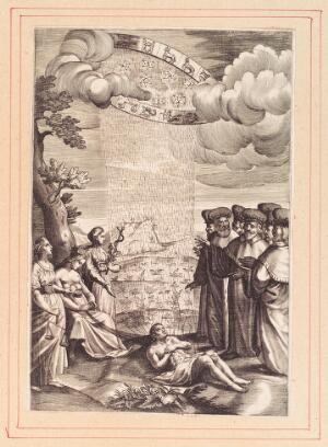 view The planets and signs of the zodiac send down their influence on to the body of a man on earth; women representing nature (?) and medicine stand on the left, while scholars watch and dispute on the right. Engraving, 16--.