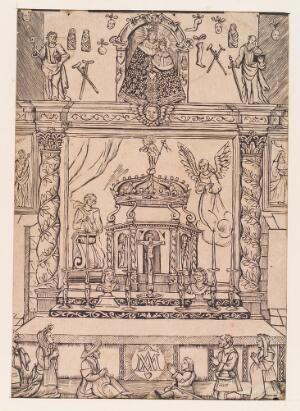 view An altar, surmounted by a statue of the Virgin surrounded by votive offerings; in the foreground, sick or troubled people praying. Woodcut, 16--.