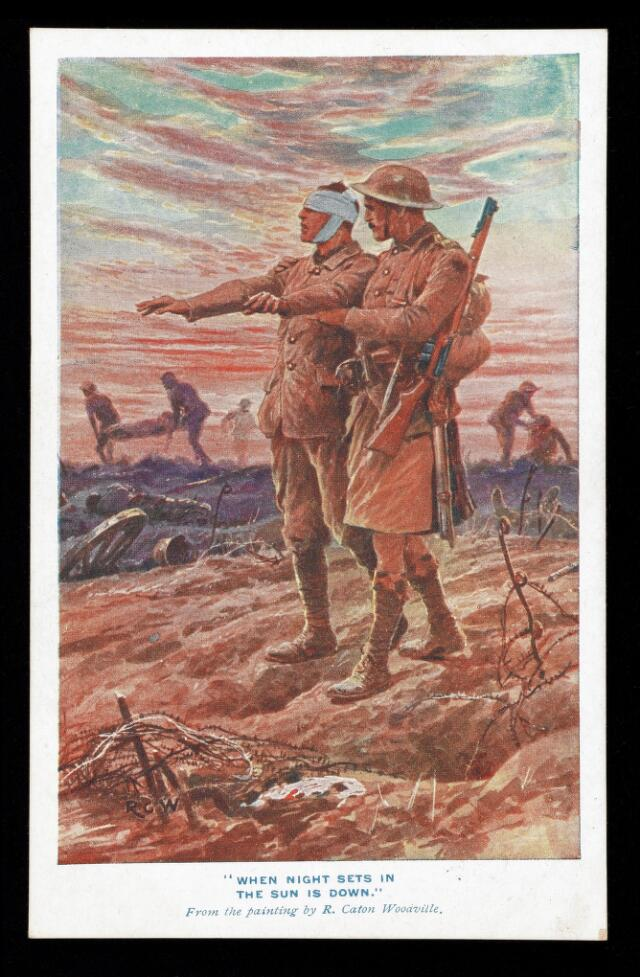 postcard showing a soldier leading a blind soldier