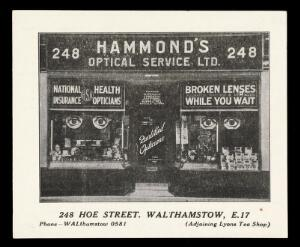 view Whist Card advertising Hammond's Optical Service