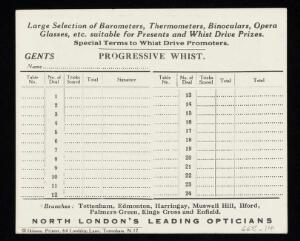 view Whist score card by Hammond's Optical Services