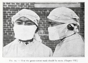 view Photograph depicting how the gauze-cotton mask should be worn