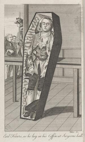 view Lord Laurence Earl Ferrers lying in his coffin at the Surgeon's Hall after being hanged for the murder of Mr Johnson his Stewart
