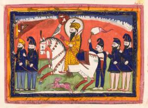 view Sri Gobind Singh on horseback with his falcon and attendants.