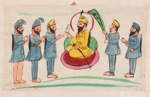 view Page 150: a man seated with Sikh worshippers. Watercolour drawing.