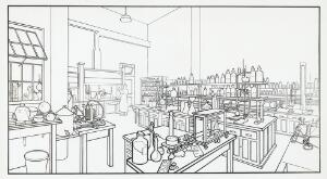 view Chemical Laboratory room. Experimental Research labs, Burroughs Wellcome and Co. Tuckahoe, New York.
