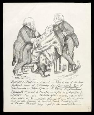 view William Gladstone as a physician taking the pulse of a man ill with influenza (flu), and giving his diagnosis to the patient's friend (another politician); representing a case of excessive political interference by railway financiers. Lithograph attributed to Sam. B., ca. 1870.