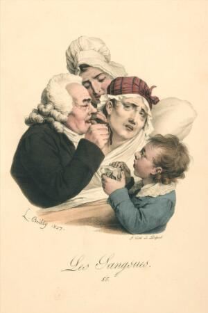 view A medical practitioner administers leeches to a patient. Colour lithograph after L. Boilly, 1827.