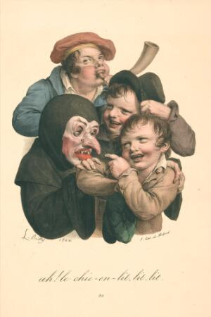 view Two boys tease a carnival reveller wearing a grotesque mask, while a third boy blows a horn. Colour lithograph after L. Boilly, 1824.