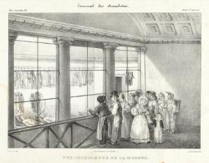 view People visiting the morgue in Paris to view the cadavers. A crowd gathers to view the grisly sight of the bodies, including a mother and her young son.