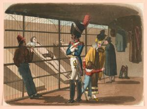 view People visiting the morgue in Paris to view the cadavers. Coloured aquatint by R.B. Peake, 1816.