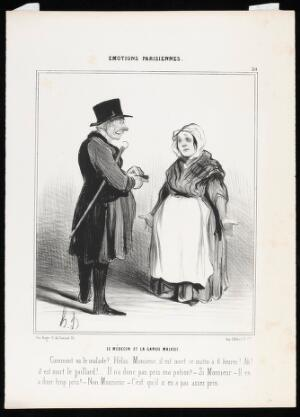 view A physician and a nurse discuss the recent death of a patient: the physician instinctively resorts to blaming the patient for non-compliance in following the prescribed dosage. Lithograph by H. Daumier, 1840.