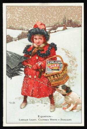 view Advert for Sunlight Soap with a girl and dog in the snow