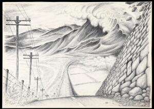 view The dream of a patient in Jungian analysis: a steeply descending road, with telegraph poles on the left, a wall and fields on the right, huge mountainous waves in the distance. Drawing by M.A.C.T., 1978.