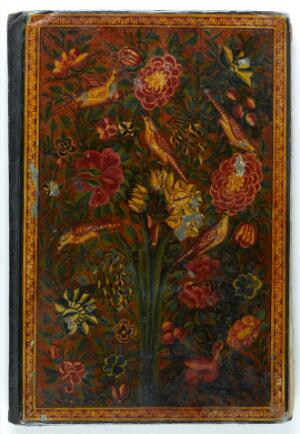 view Qajar Persian lacquer binding , 12th/18th Centuries: lacquer, gold leaf, with various pigments. Front cover