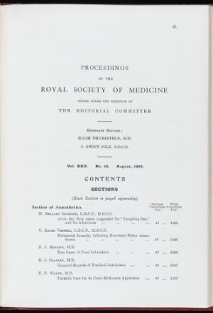 view Proceedings of the Royal Society of Medicine, August 1932