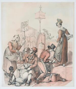 view Street vendors on the Seine in Paris: a pet-groomer, a shoe shiner, and a bookstall. Coloured lithograph, 183-.