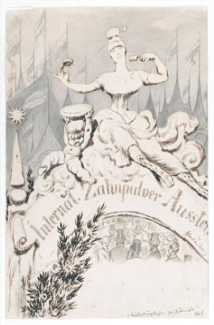 view A baroque sculpture forming an allegory of dentifrice at the entrance to an international toothpowder exhibition. Drawing by A. Oberländer, ca. 1900.
