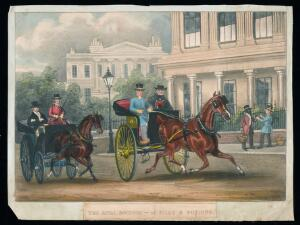 view Two rival physicians ride in carriages around high-class London residences in competition for wealthy patients. Coloured lithograph, 18--.