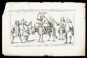 view Robert Walpole, Earl of Orford, with a whip in one hand and a letter in the other, mounted on an ass with a human head. Etching with engraving, 1745.