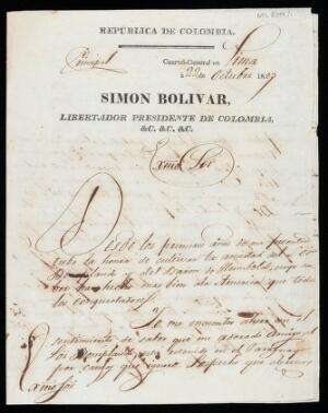 view Letter from Bolívar in Lima, to José Gaspar Rodríguez Francia, dictator of Paraguay, asking for the release of his good friend the explorer and botanist Aimé Jacques Alexandre Bonpland (1773 - 1858).