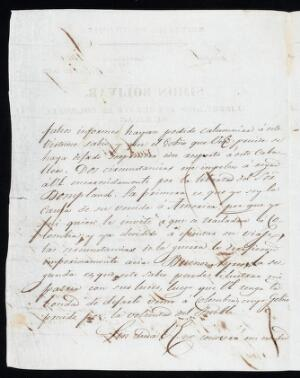 view Letter from Bolívar in Lima, to José Gaspar Rodríguez Francia, dictator of Paraguay, asking for the release of his good friend the explorer and botanist Aimé Alexandre Jacques Bonpland (1773 - 1858).