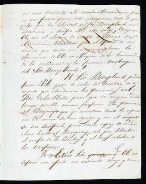 view Letter from Bolivar in Lima, to Jose gaspar Rodriguez Francia, dictator of Paraguay, asking for the release o fhis good friend the explorer and botanist Aime Jacques Bonpland (1773 - 1858).