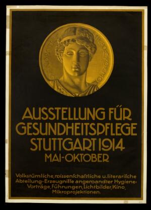 view A medallion showing the head of an ancient Greek athlete; advertising the cultural section of an exhibition in Stuttgart on hygiene (Ausstellung für Gesundheitspflege). Colour lithograph, 1914.