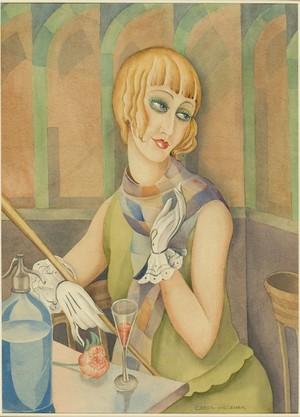 view Lili Elbe (?). Watercolour attributed to Gerda Wegener, ca. 1928.