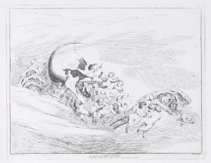 view The death of infants: a skeleton representing Death grabs and eats infants who die innocent of vice but unendowed with the theological virtues. Etching by B. Pinelli, 1825.
