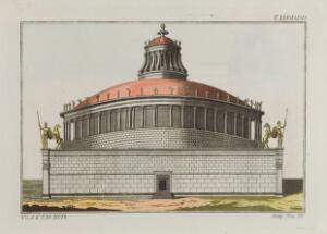 view Rome: Castel Sant'Angelo (mausoleum of Hadrian). Coloured engraving, ca. 1804-1811.