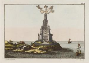 view The pharos of Alexandria. Coloured engraving, ca. 1804-1811.