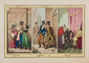 view Three London scenes: a man being cajoled by two prostitutes, a young man being accosted by two debt-collectors, and a physician attending a patient. Coloured etching by G. Cruikshank after J. Sheringham, 1821.
