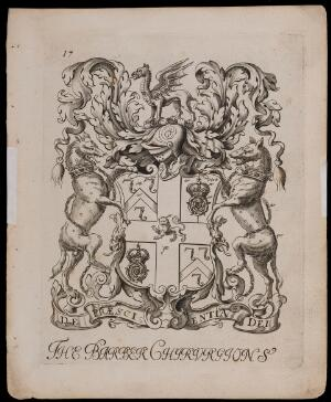 view Arms of the London Barber Surgeons' Company. Engraving attributed to W. Vaughan, 1677.