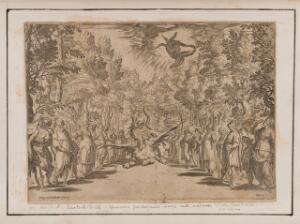view Apollo descending to kill the Python, surrounded by men and women of Delphi; representing the power of music to affect the human mind. Etching by Agostino Carracci after A. Boscoli after B. Buontalenti.