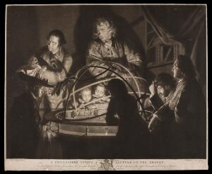 view A philosopher giving a lecture on the orrery. Mezzotint by W. Pether, 1768, after Joseph Wright of Derby.