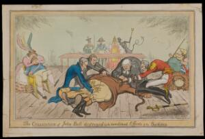 view Burdett, Peel, O'Connell and Wellington in the roles of the body-snatchers Burke and Hare, suffocating John Bull with a rope; representing the extinguishing by Wellington and Peel of the constitution of 1688 by Catholic Emancipation. Coloured etching by A. Sharpshooter, 1829.